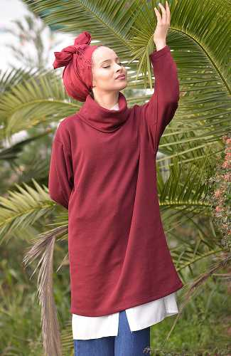 - Degaje Yaka - Selanik Sweat Shirt - Bordo DİT6326 (1)